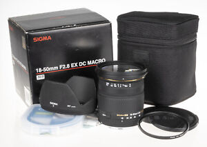 Sigma 18-50mm f/2.8 EX DC lens Canon | +UV, hood, caps, pouch, box, user manual