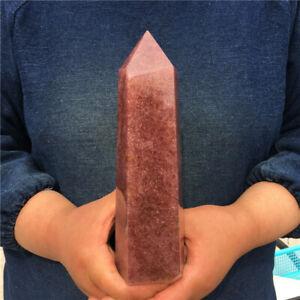 1040 g Natural Strawberry quartz Obelisk Crystal Wand Point Reiki Healing