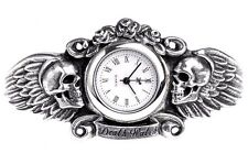 Heart of Lazurus Dark Angel Winged Skull Pewter Wrist Watch AW28 Alchemy Gothic