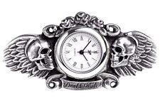 Heart of Lazurus Dark Angel Winged Skull Pewter Wrist Watch AW28 Alchemy Gothic