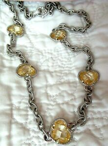 "Judith Ripka Sterling Silver 18K Gold Canary Crystal Heart Station 17"" Necklace"