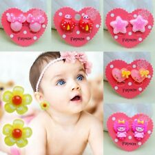 1 Pair Fake Non-Piercing Kids Girl Rhinestone Clip-On Earrings Spring Jewelry