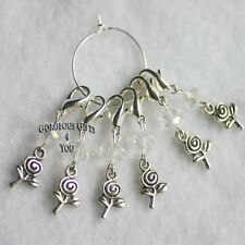 Set 6 Stitch Markers Knitting Crochet Accessory Rose Flower Crystal Clip Charms
