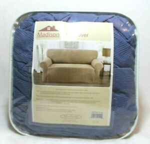 """Madison Sofa Slipcover Checkerboard Design Solid Blue Fits 74"""" to 96"""" Stretch"""
