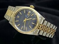Rolex Datejust Mens Two-Tone 14k Gold Stainless Steel Jubilee w/ Blue Dial 1601