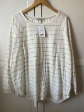 Next Womens Silver/White Strioed Top Size 22 BNWT