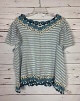 Listicle Boutique Women's M Medium Ivory Blue Lace Striped Spring Top Blouse