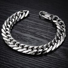 Massives Edelstahl Panzerarmband Herrenarmband in Silber NEU Armband Kette Biker