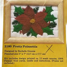 Creative Circle '81 Pretty Poinsettia Cross Stitch Crewel Needlework Kit & Frame