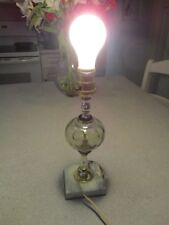 Vintage Pale Green Glass Marble Base Boudoir Lamp Original Wiring