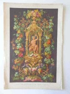 SUPERBE GRANDE LITHOGRAPHIE XIXe BACCHUS DIONYSOS Fleur Ornement Planche Gravure