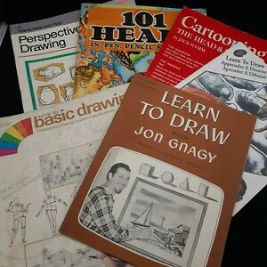 Vintage art books lot How to draw instruction sketch pictures drawing cartoon