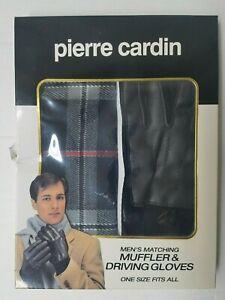 Pierre Cardin Men's Matching Muffler Scarf & Driving Gloves Set New