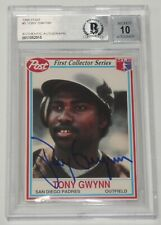 Tony Gwynn Signed 1990 Post Padres Baseball Card 5 BAS COA Gem Mint 10 Autograph