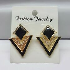 Triangle Crystal Stud Drop Dangle Earrings Black/Gold Fashion Jewellery