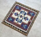 """Vintage Distressed Small Area Rug Hand Knotted Oushak Rugs Yastik -1'8""""x1'9'"""