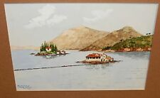 SC MCX ISLAND ON A LAKE ORIGINAL WATERCOLOR PAINTING SIGNED
