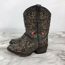 Quincy Brown Leather Cowboy Western Boots Little Girl Studs Embellished Size 11