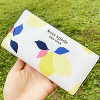 Kate Spade Cameron Lemon Zest Large Slim Bifold Wallet White Saffiano Leather