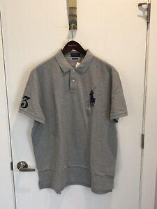 NWT Polo Ralph Lauren Grey Custom Slim Fit Big Pony Mesh Polo Shirt XXL
