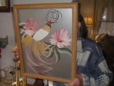 Original Art Deco Phoenix Bird Art Painting Signed M. Davids w Bamboo Frame