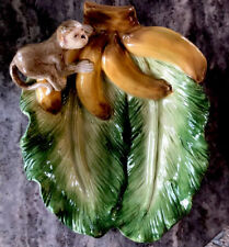"Kaldun & Bogle monkey banana Leaf bowl Hand painted 10"" X 8"" EUC"