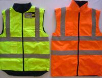 Adult Mens Bodywarmer Gilet Vest Reversable Fleece Zip Hi Vis Work Yellow Orange