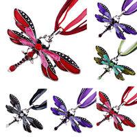 Fashion Dragonfly Charms Necklace With Chain Rhinestone Inlay Gemstone Jewelry