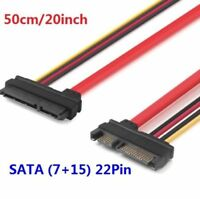 20inch SATA (7+15) 22Pin Male To Female Data and Power Combo Extension cable