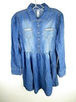 Justice Girls Chambray Dress Size 16 Plus Jewels Buttons Blue   K1