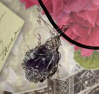 STUNNING HAND-CRAFTED SILVER-WIRE-WRAPPED AMETHYST CRYSTAL PENDANT - 2 INCHES