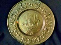Brass European Round Wall Hanging Art, Stags & Cherubs plaque