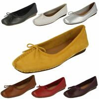 Ladies Clarks Comfort Everyday Casual Flats Dolly Shoes *Freckle Ice*