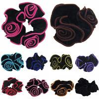 Flower Velvet Hair Scrunchies Ponytail Holder Elastic Ropes Band Accessory