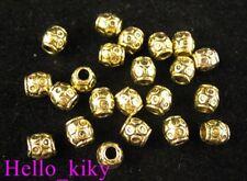 150 Antiqued gold plt ringed barrel spacer beads A315