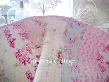 SHABBY BEACH BLUE PINK ROSES CHIC SUMMERS COTTAGE QUEEN QUILT & PILLOW SHAMS