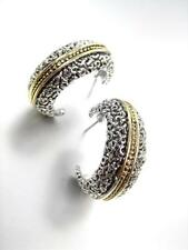 NEW CLASSIC Designer Style Balinese Silver Filigree Gold Dots Hoop Earrings