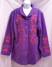 BOB MACKIE L Purple Fleece Embroidered Wearable Art Polyester Jacket Coat