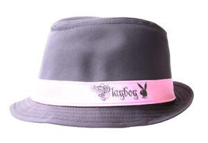 Playboy Fedora Hat - Grey
