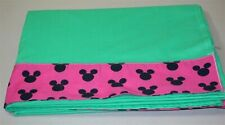 Disney Flat Sheet with Mouse Ears ~ Grass Green Hot Pink Black ~ Twin