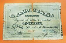 SANTANDER 50 Pesetas 1936 BANCO ESPAÑOL DE CREDI 004817 Pick S586 Billete España