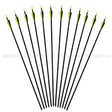12 Archery Arrow Fiberglass Hunter Nocks Fletched Arrows Target Practice Hunting