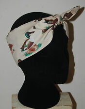 duck print head scarf rockabilly 50s pin up hair wrap birds cream mallard flying