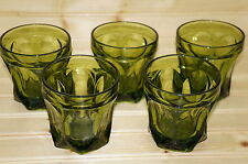 """Anchor Hocking Fairfield Lot of (5) Old Fashioned Avocado Green Glasses, 3½"""""""