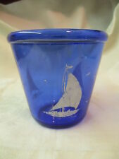 Vintage Hazel-Atlas glass Cobalt blue Ice Bucket with white Ships