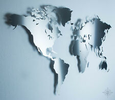 S Weltkarte aus Edelstahl -  Wanddekoration (Wandbild, Stahl, Metall, Deko)