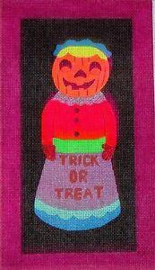 JG Misses Pumpkin Head Halloween Ornament HP Handpainted Needlepoint Canvas