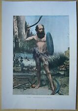 ca.1895 French photochrom AUSTRALIAN ABORIGINE WITH BOOMERANG (#321)