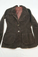 Vintage Unbranded Womens 8 Cotton Blend Brown Velvet Blazer Jacket NWT B602