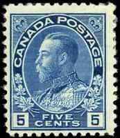 Canada #111 mint F OG HR 1914 King George V 5c dark blue Admiral CV$70.00